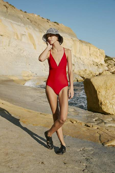 Kowtow Triangle One Piece Swimsuit - Primary Red