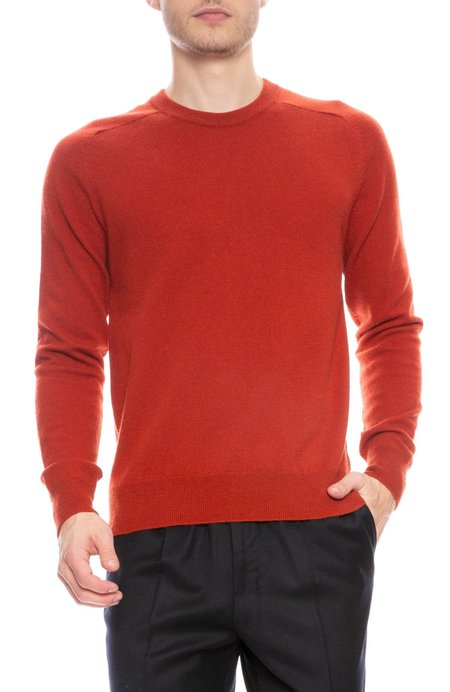 AMI Wool Cashmere Pullover Sweater - Brick Red