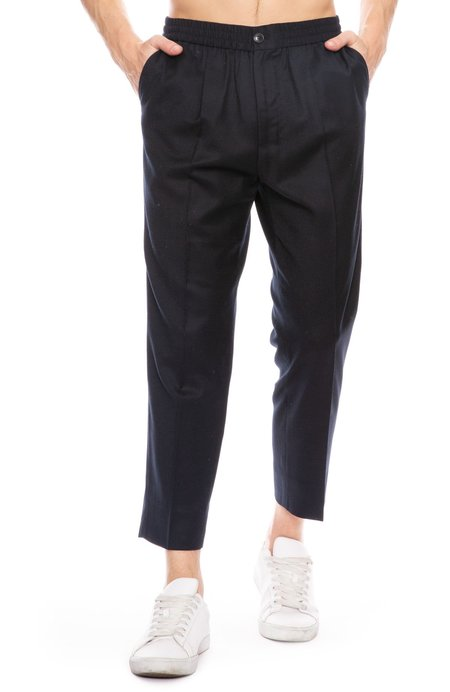 AMI Cropped Elastic Waist Trouser Pants