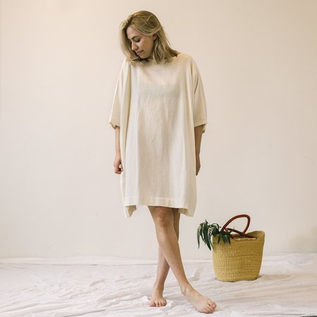 Uzi NYC Coarse Cotton Box Dress - Cream