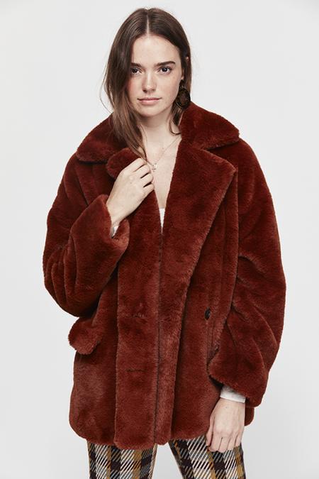Free People Solid Kate Faux Fur Coat - Terracotta