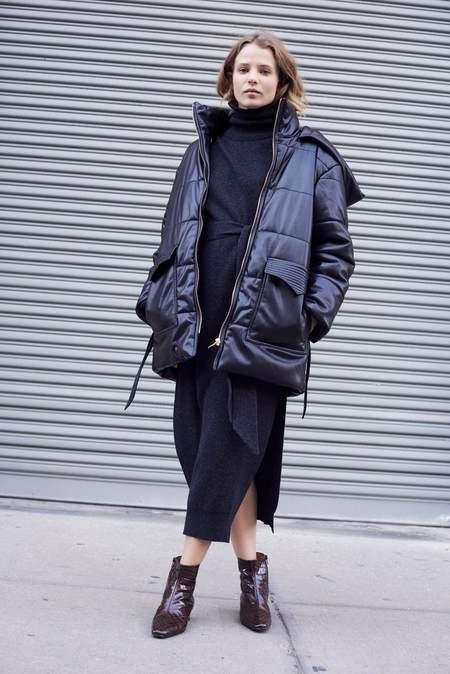 Nanushka Lenox Puffer Jacket With Belt - black