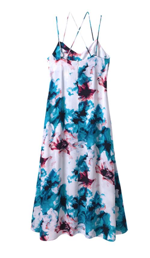 Olive & Oak Watercolor Strappy Dress