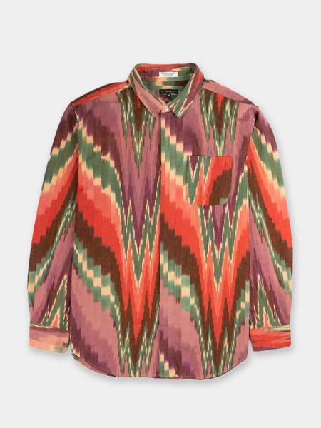 Engineered Garments Short Collar Cotton Ikat Shirt - Purple/Green