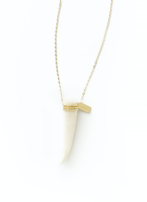 Tess + Tricia Micro Beaded Antler Tip Necklace