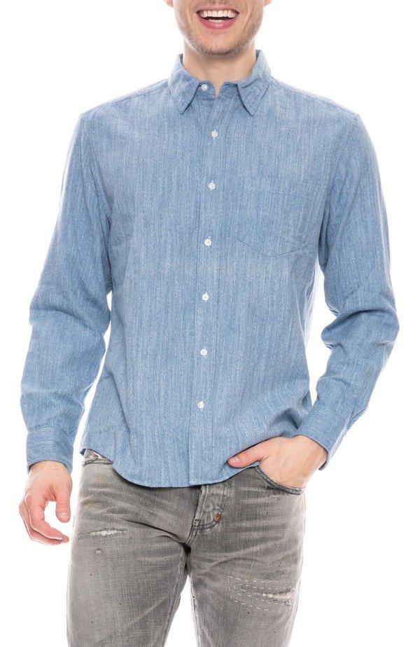 Frank & Eileen Don Heathered Flannel Shirt - Blue Melange