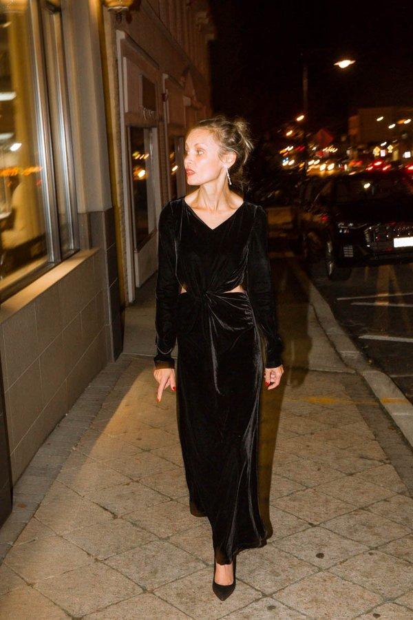 Rachel Comey Mast Velvet Stretch Dress - Black