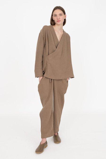 Cosmic Wonder Ancient Folk Ramie Linen Wool Kimono Shirt - Beige