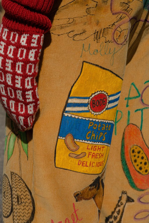 Bode Hand Drawn Senior Cords Trouser - Corn Yellow