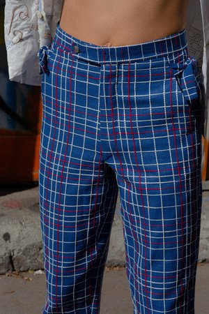 BODE Alden Side-Tie Trousers - Navy Check