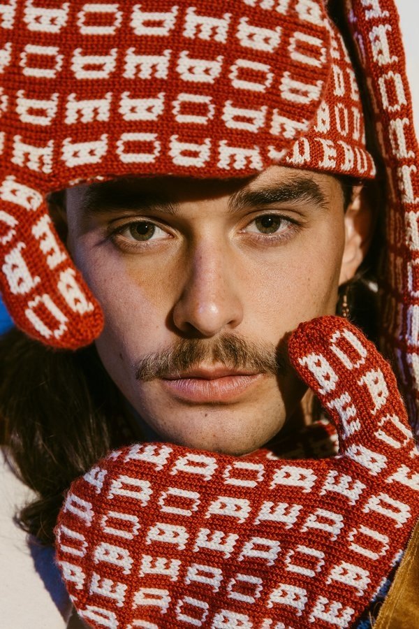 Bode Signature Knit Mittens - Red