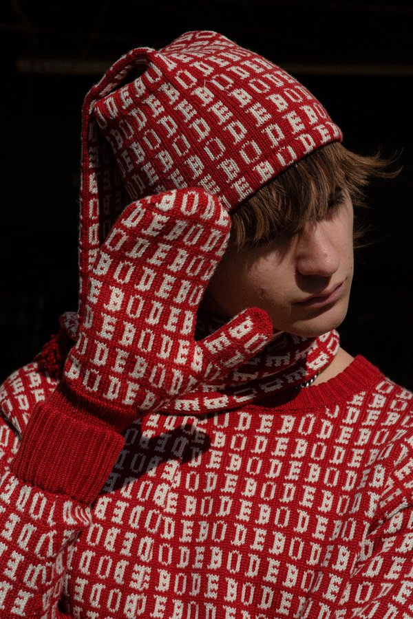Bode Signature Knit Sleeping Hat - Red