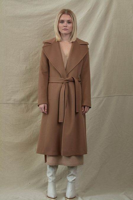 Fleurette Maxi Wrap Wool Coat - Vicuna