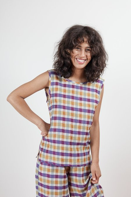 Gravel & Gold Corylus Top - Plaid