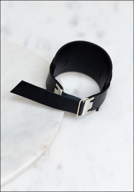 AUMORFIA Leather Minimalist Cuff Bracelet - black