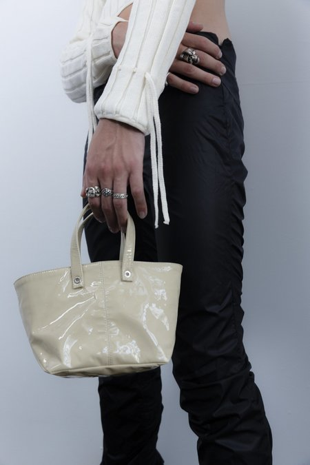 LUDOVIC DE SAINT SERNIN Patent Lamb Leather Eyelet Tote Bag - Champagne