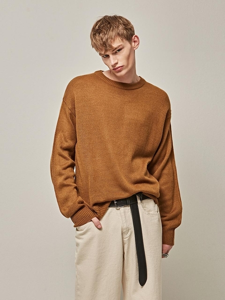 YAN13 Natural Round Knit Top - Camel