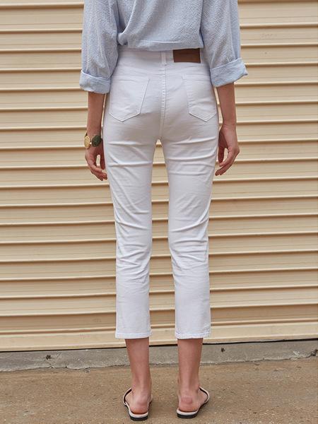 YAN13 Slim Crop Cotton Pants - White