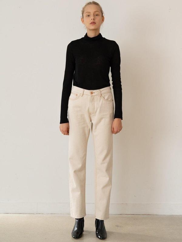 KINDERSALMON Straight Fit Denim Pants - Ecru