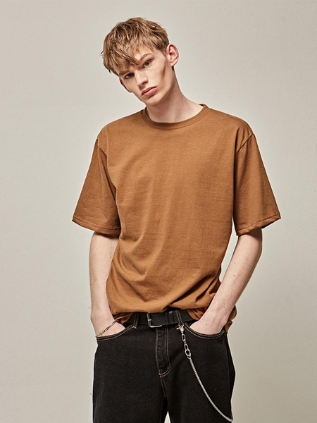 YAN13 Cotton Half Sleeve T-Shirts - Brown