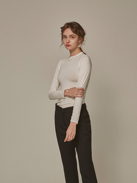 YAN13 Slim Round Long Tee Shirts - Ivory