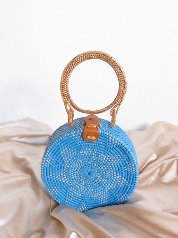 Folk Fortune Blue Rattan Bag, Sraw Bag, Bali Bag