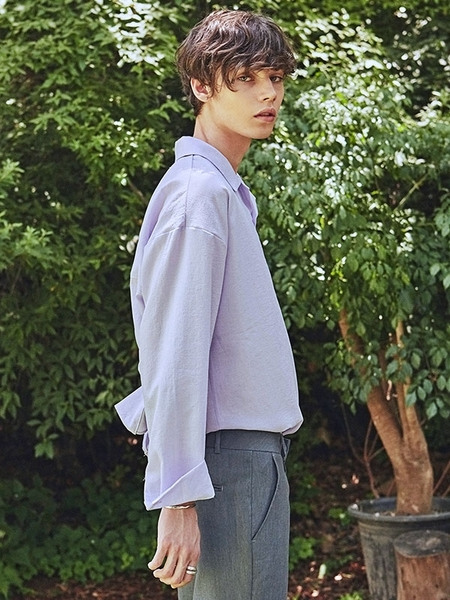 YAN13 Milky Wide Open Collar Shirt - Violet
