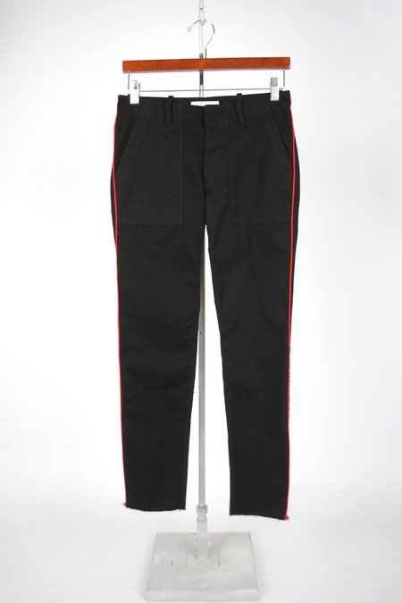 Nili Lotan Jenna Pant with Piping - JET BLACK with RED PIPING