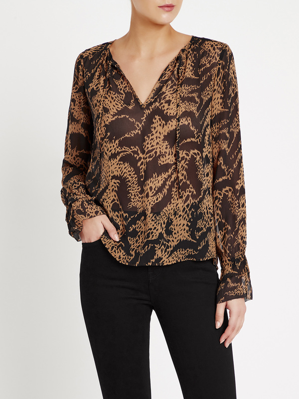 Paige Jojie Blouse - Hyde / Black Mixed Tiger