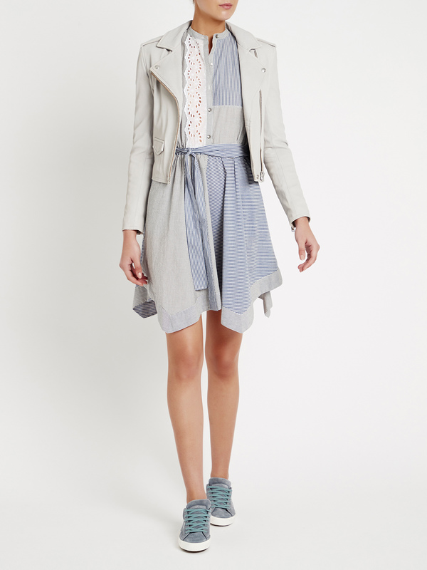 Rebecca Taylor Mixed Stripe And Eyelet Dress - blue