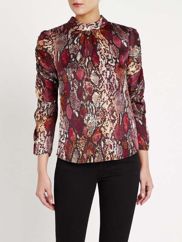 Rebecca Taylor Watercolor Snake Hammered Silk Top - red