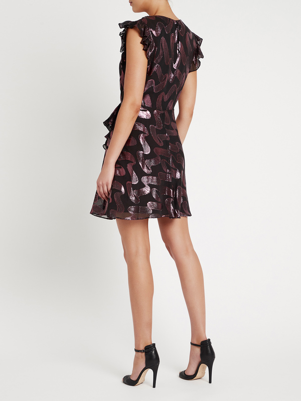Rebecca Taylor Sleeveless Ribbon Lurex Jacquard Dress - black