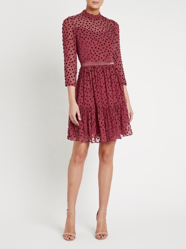Rebecca Taylor Velvet Dot Dress - red