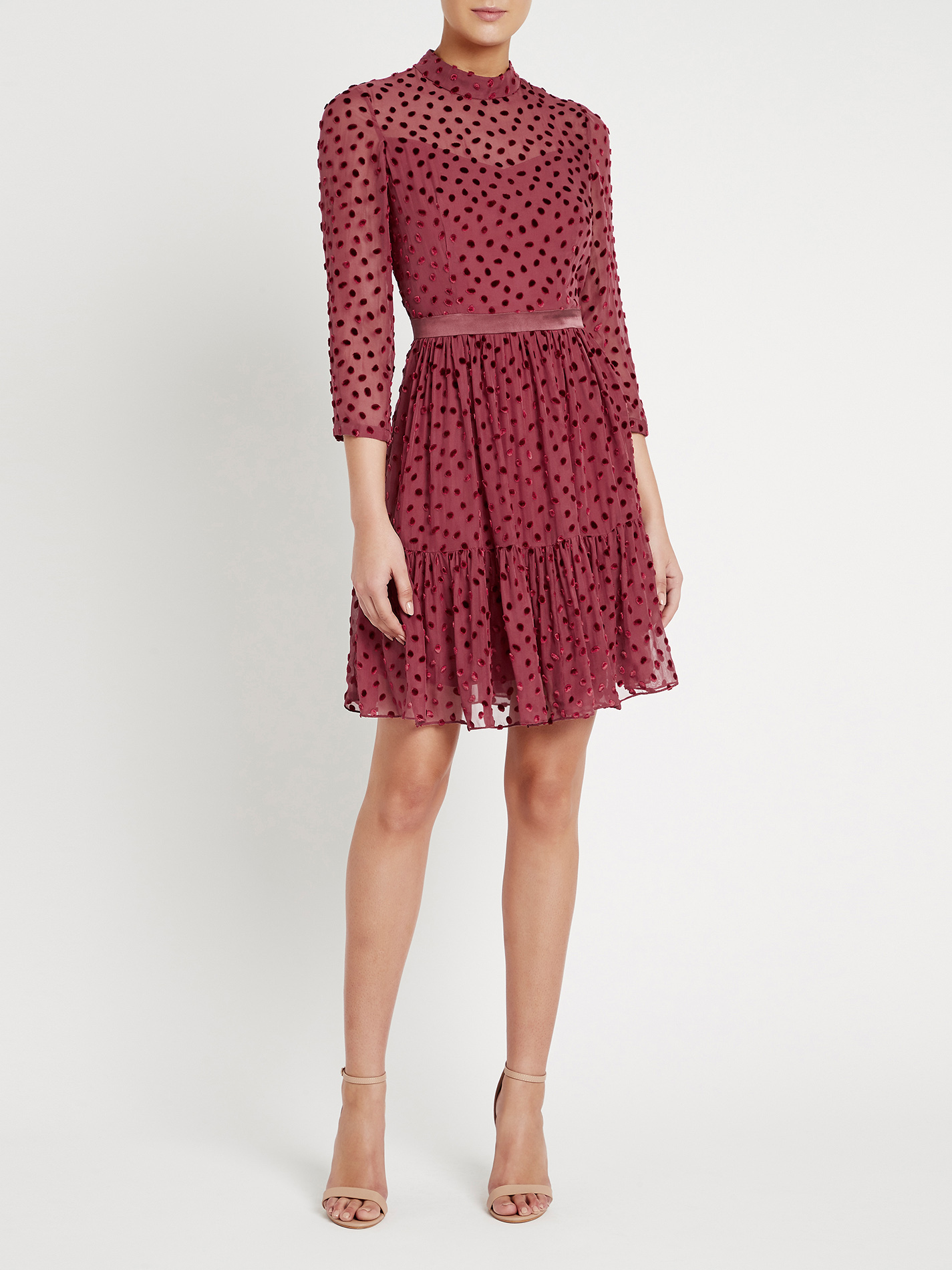Rebecca Taylor Velvet Dot Dress Red Garmentory
