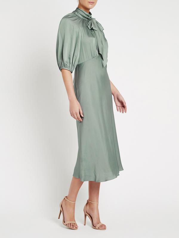 Rebecca Taylor Satin Tie Neck Dress - green
