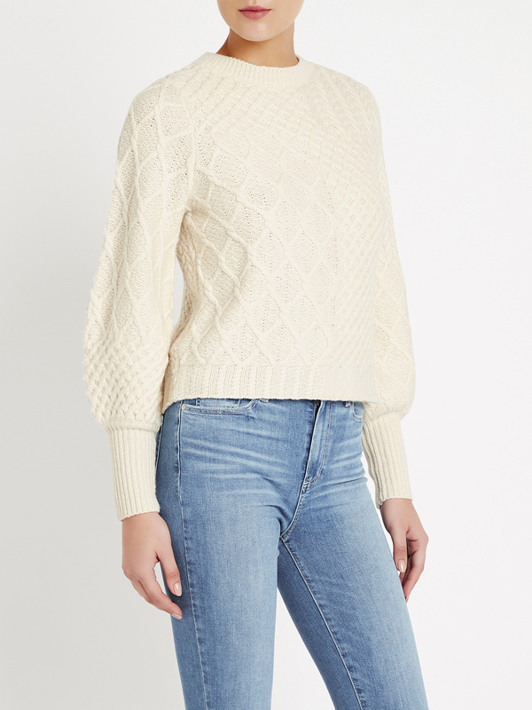 FRAME Denim Patchwork Cable Crew - Off White