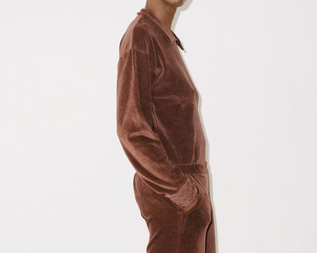 Baserange Suru Longsleeve Velour Top - Turnip Brown