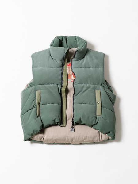 Kapital 60/40 Cloth Burger Keel Vest - Snow Finish Smoke Green