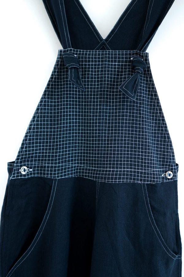Karu Handloom Linen Overalls - Midnight Blue
