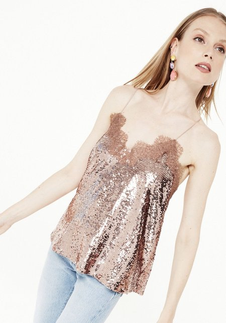 Cami NYC Racer Sequin Cami Top - Rose Dust