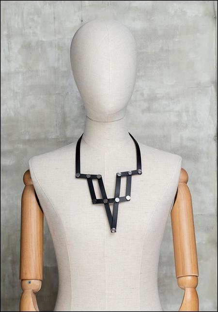AUMORFIA Leather Plunge Bib Necklace