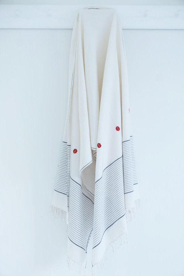 Karu Handwoven Cotton Towel with Embroidery - Ivory