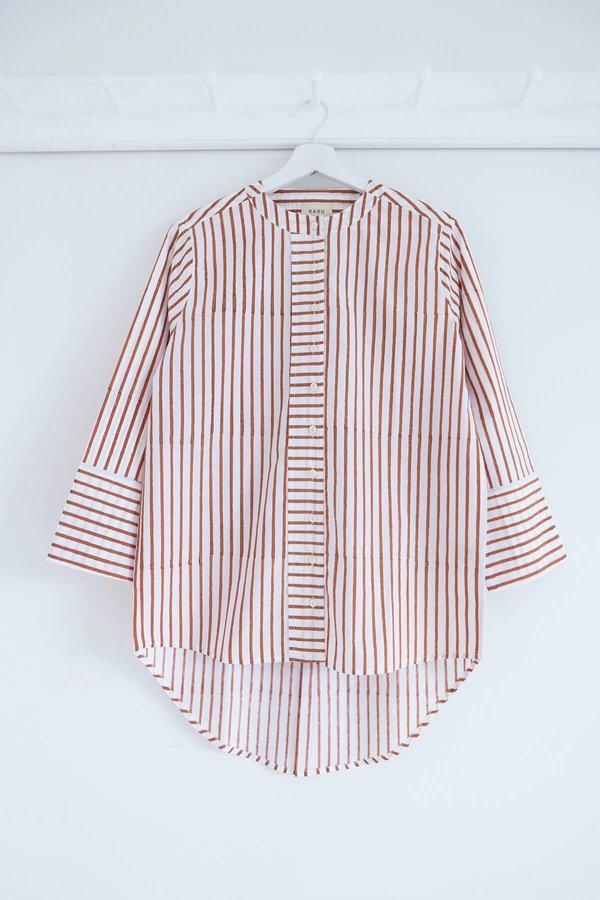 Karu Striped Boyfriend Shirt - Terracotta