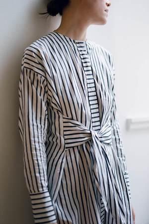 Karu Wraparound Shirt Dress - Midnight Stripe