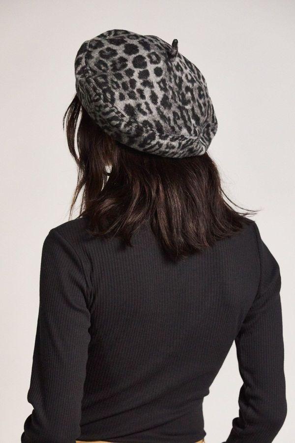 Brixton Audrey Beret - Aluminium/Black Leopard