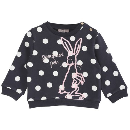 KIDS Émile et Ida Dot Sweatshirt with Pink Bunny - Black