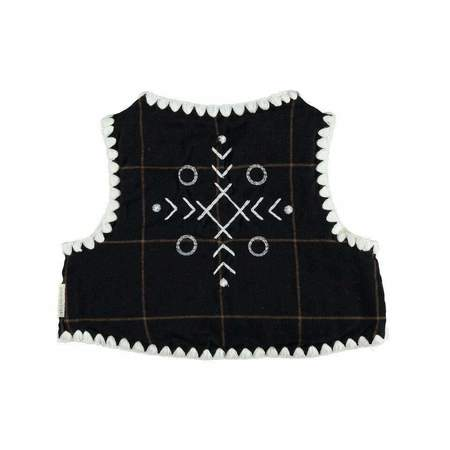 Kids piupiu chick Flannel Vest - Black