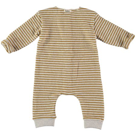 kids Búho Bubu Striped Jumpsuit - ecru/mustard
