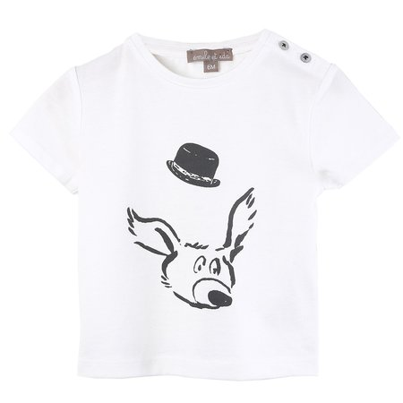 KIDS Émile et Ida Dog with Hat T-Shirt - WHITE