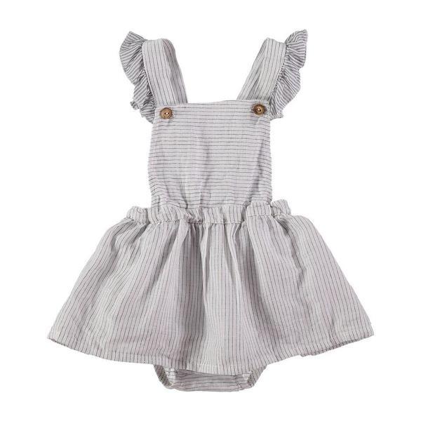 kids Búho Elise Stripes Baby Girl Dress - ecru